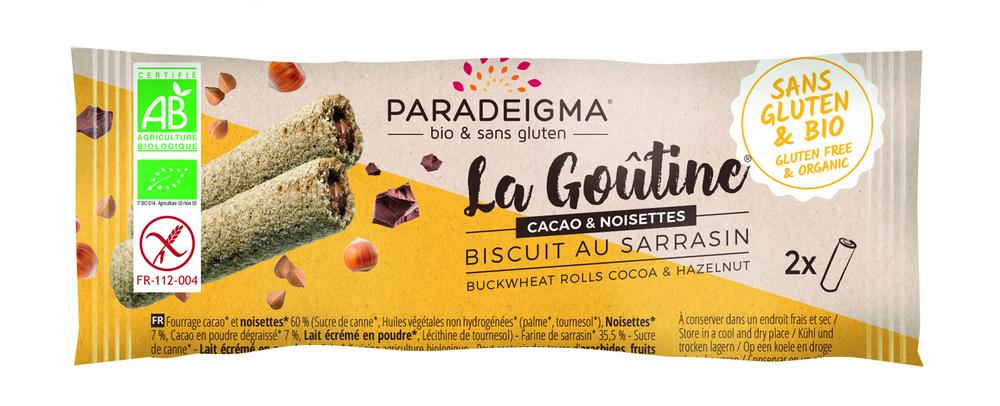 En présentoir de 24 sachets de 2  goûtines : nos goûtines sarrasin fourrées cacao & noisettes